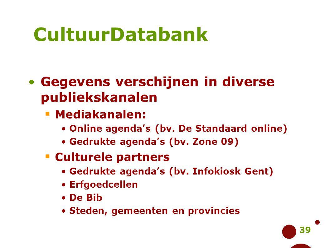 39 Gegevens verschijnen in diverse publiekskanalen  Mediakanalen: Online agenda's (bv. De Standaard online) Gedrukte agenda's (bv. Zone 09)  Culture