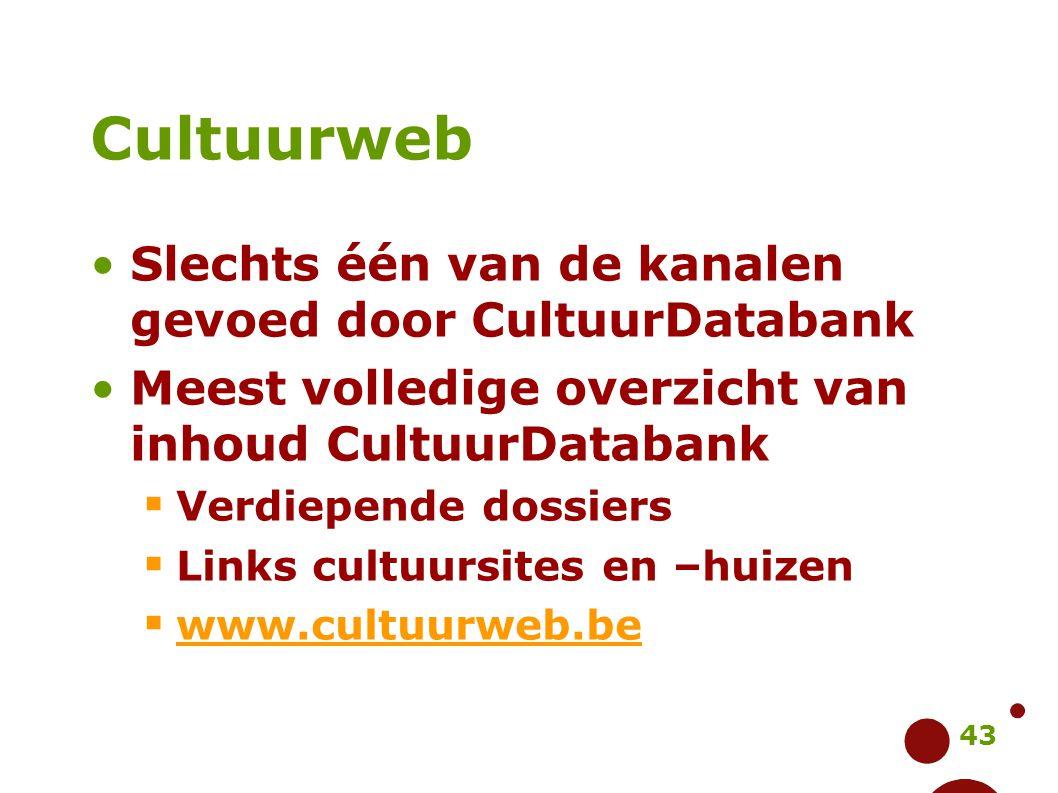 43 Cultuurweb Slechts één van de kanalen gevoed door CultuurDatabank Meest volledige overzicht van inhoud CultuurDatabank  Verdiepende dossiers  Lin