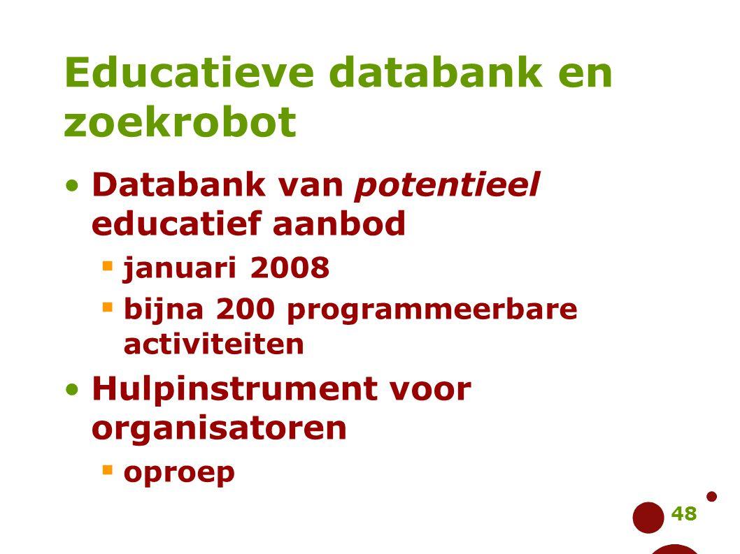 48 Educatieve databank en zoekrobot Databank van potentieel educatief aanbod  januari 2008  bijna 200 programmeerbare activiteiten Hulpinstrument vo