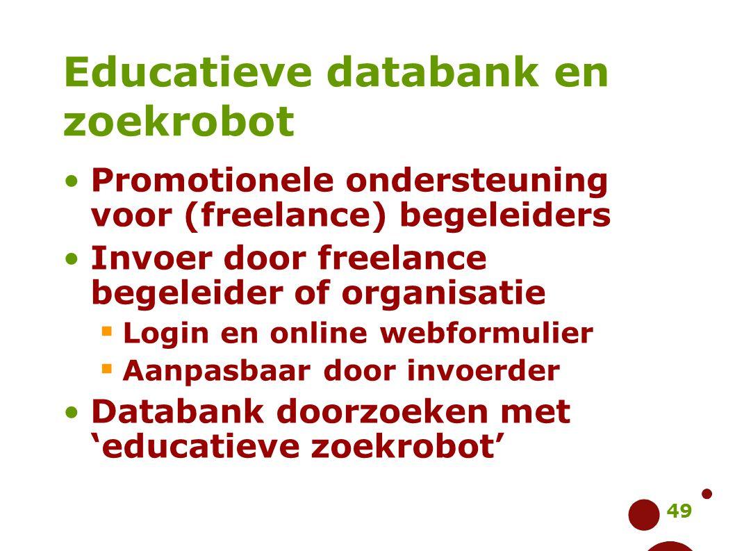 49 Educatieve databank en zoekrobot Promotionele ondersteuning voor (freelance) begeleiders Invoer door freelance begeleider of organisatie  Login en