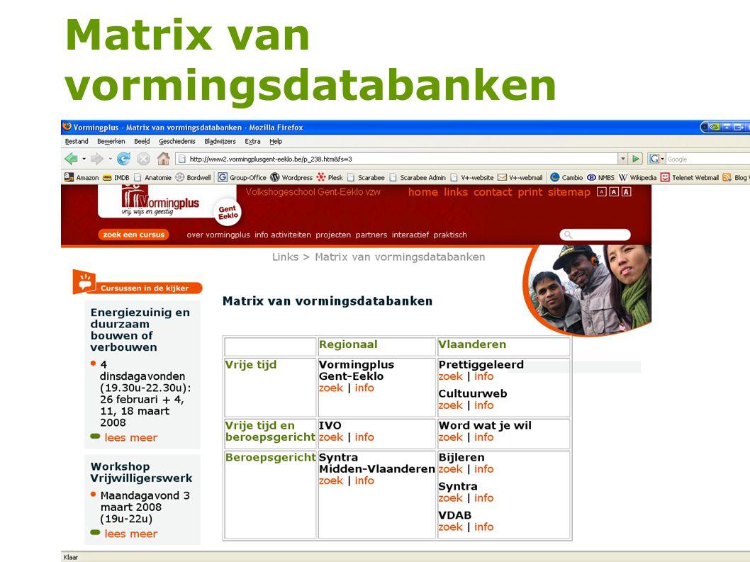 54 Matrix van vormingsdatabanken