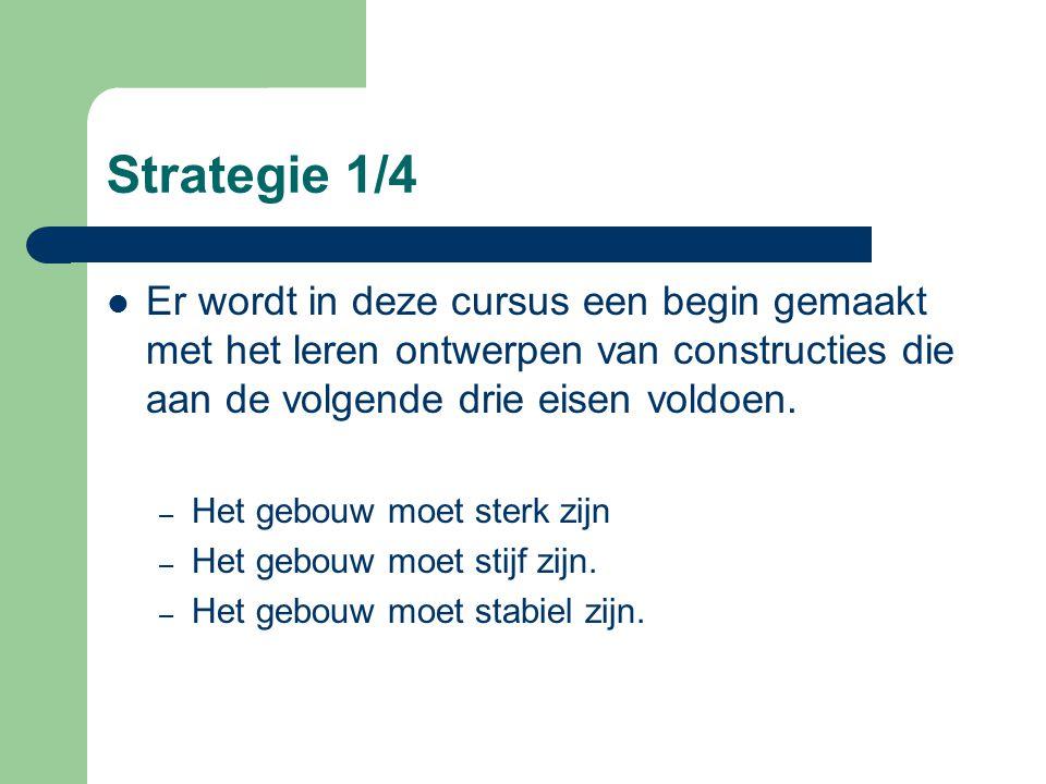 Strategie 1/4 Er wordt in deze cursus een begin gemaakt met het leren ontwerpen van constructies die aan de volgende drie eisen voldoen.