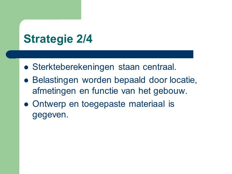 Strategie 1/4 Er wordt in deze cursus een begin gemaakt met het leren ontwerpen van constructies die aan de volgende drie eisen voldoen. – Het gebouw