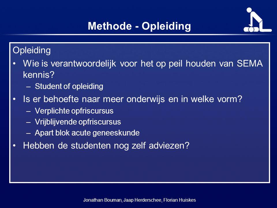 Methode - Opleiding Opleiding Wie is verantwoordelijk voor het op peil houden van SEMA kennis? –Student of opleiding Is er behoefte naar meer onderwij