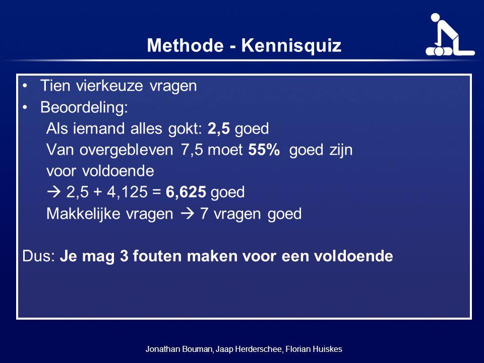 Methode - Kennisquiz Tien vierkeuze vragen Beoordeling: Als iemand alles gokt: 2,5 goed Van overgebleven 7,5 moet 55% goed zijn voor voldoende  2,5 +