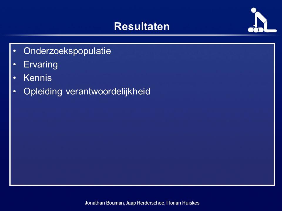 Resultaten Onderzoekspopulatie Ervaring Kennis Opleiding verantwoordelijkheid Jonathan Bouman, Jaap Herderschee, Florian Huiskes