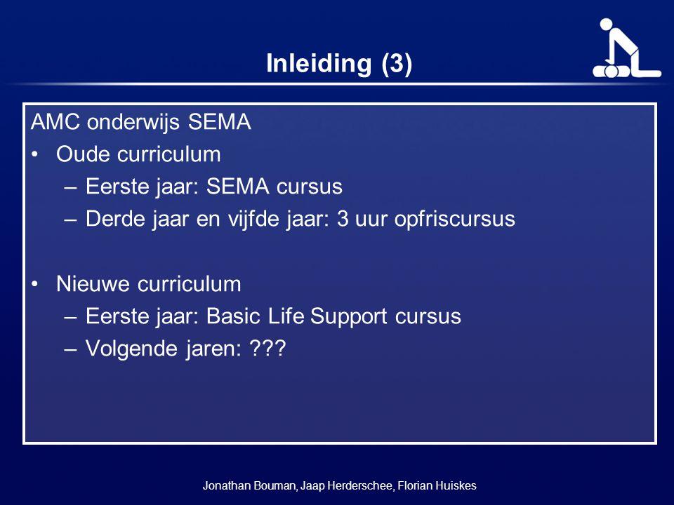 Inleiding (3) AMC onderwijs SEMA Oude curriculum –Eerste jaar: SEMA cursus –Derde jaar en vijfde jaar: 3 uur opfriscursus Nieuwe curriculum –Eerste ja