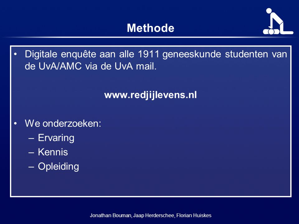Methode Digitale enquête aan alle 1911 geneeskunde studenten van de UvA/AMC via de UvA mail.