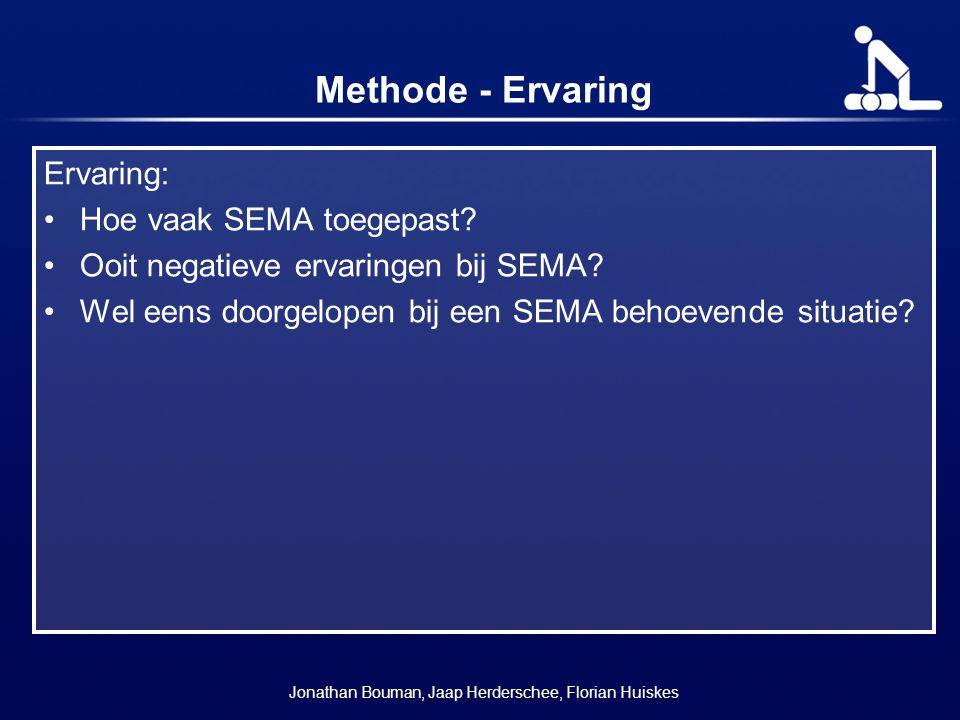 Methode - Ervaring Ervaring: Hoe vaak SEMA toegepast? Ooit negatieve ervaringen bij SEMA? Wel eens doorgelopen bij een SEMA behoevende situatie? Jonat