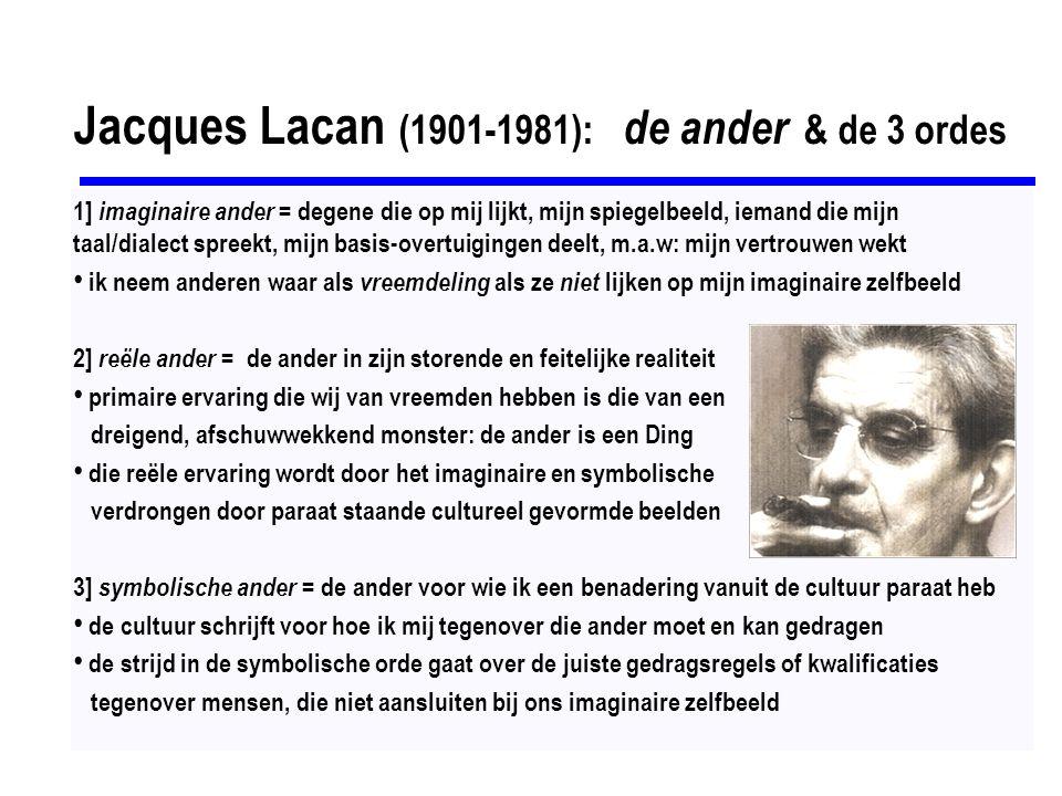 Jacques Lacan (1901-1981): de ander & de 3 ordes 1] imaginaire ander = degene die op mij lijkt, mijn spiegelbeeld, iemand die mijn taal/dialect spreekt, mijn basis-overtuigingen deelt, m.a.w: mijn vertrouwen wekt ik neem anderen waar als vreemdeling als ze niet lijken op mijn imaginaire zelfbeeld 2] reële ander = de ander in zijn storende en feitelijke realiteit primaire ervaring die wij van vreemden hebben is die van een dreigend, afschuwwekkend monster: de ander is een Ding die reële ervaring wordt door het imaginaire en symbolische verdrongen door paraat staande cultureel gevormde beelden 3] symbolische ander = de ander voor wie ik een benadering vanuit de cultuur paraat heb de cultuur schrijft voor hoe ik mij tegenover die ander moet en kan gedragen de strijd in de symbolische orde gaat over de juiste gedragsregels of kwalificaties tegenover mensen, die niet aansluiten bij ons imaginaire zelfbeeld