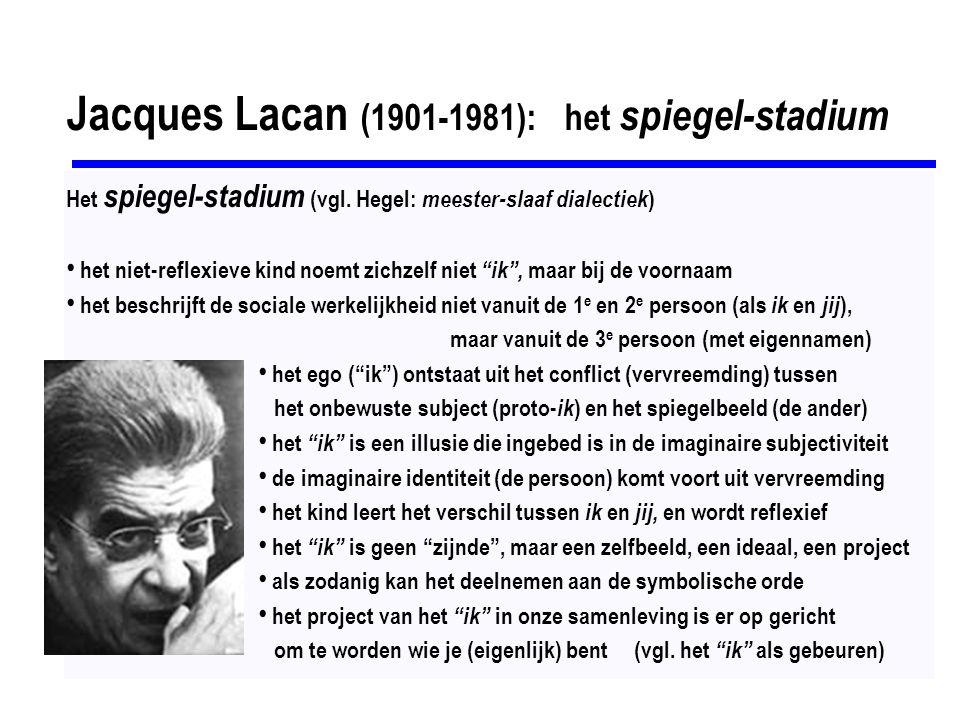 Slavoj Žižek (1949): Hegel + Marx + Lacan Hegels dialectiek: these - antithese - synthese Lacans begrippenapparaat: imaginair - symbolisch - reëel 1] these = de symbolische orde : hier wordt ordening aangebracht (middels taal) in de chaos van de werkelijkheid (het reële) 2] anti-these = de reële orde, waarin altijd tegenstellingen bestaan, die zich nooit definitief laten vangen in de taal (het symbolische), bestaat uit regels met uitzonderingen, onvolmaaktheden waartegen het subject strijdt door ze in te voegen in de symbolische orde, zonder dat ze werkelijk helemaal worden opgelost (aufgeheben) 3] synthese = de imaginaire orde, het eigen wereldbeeld met het ik in de hoofdrol, het volmaakte samengaan van these en antithese het project van het ik in onze samenleving is er op gericht om te worden wie je (eigenlijk) bent (zelfontplooiing) de imaginaire orde (synthese) bestaat slechts in het verlangen, dat nooit volledig gerealiseerd kan worden