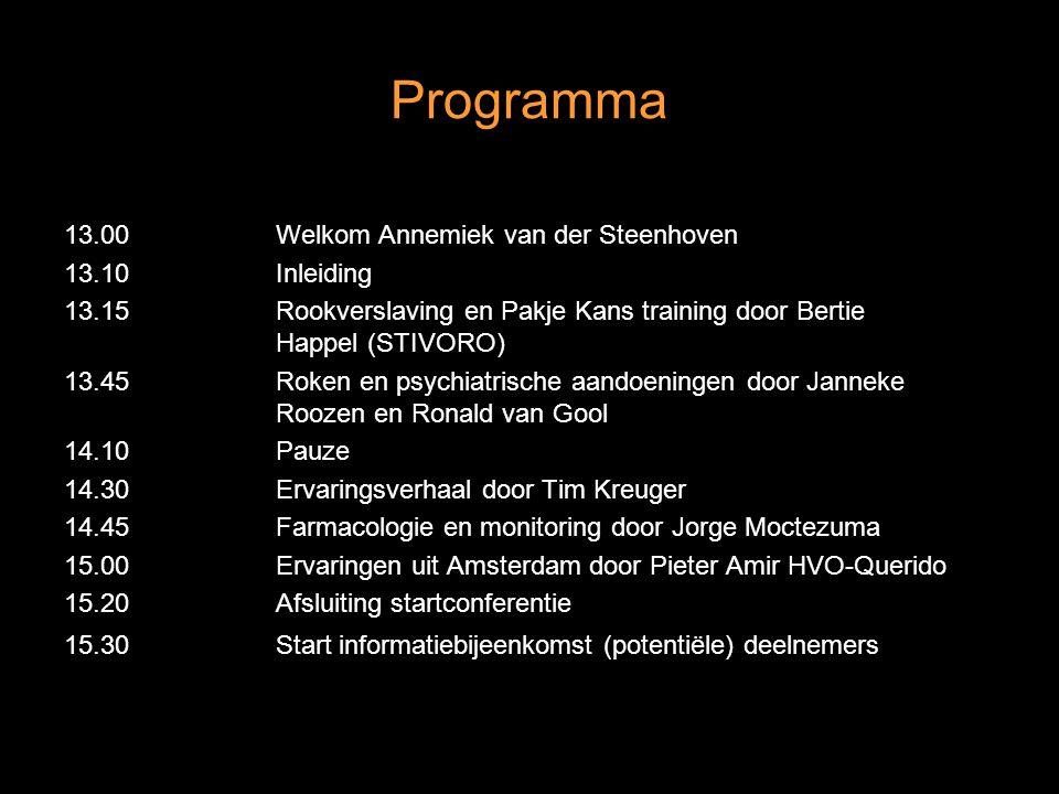 Programma 13.00Welkom Annemiek van der Steenhoven 13.10Inleiding 13.15Rookverslaving en Pakje Kans training door Bertie Happel (STIVORO) 13.45Roken en