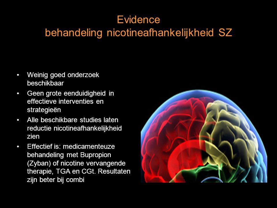 Evidence behandeling nicotineafhankelijkheid SZ Weinig goed onderzoek beschikbaar Geen grote eenduidigheid in effectieve interventies en strategieën A