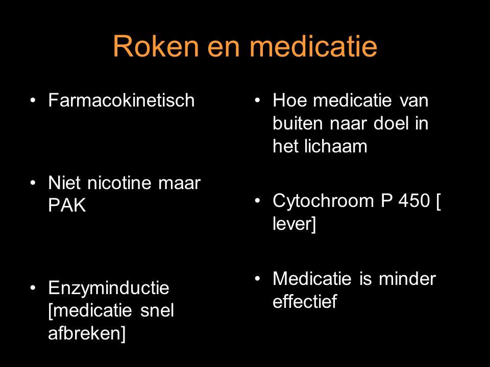 Farmacokinetisch Niet nicotine maar PAK Enzyminductie [medicatie snel afbreken] Hoe medicatie van buiten naar doel in het lichaam Cytochroom P 450 [ l
