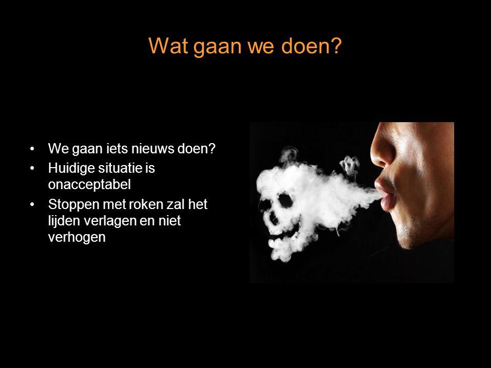 Wat gaan we doen? We gaan iets nieuws doen? Huidige situatie is onacceptabel Stoppen met roken zal het lijden verlagen en niet verhogen