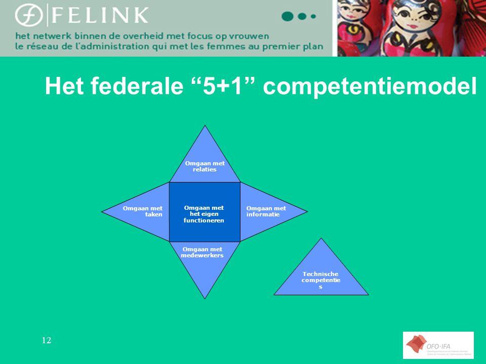 12 Het federale 5+1 competentiemodel Omgaan met het eigen functioneren Omgaan met relaties Omgaan met informatie Omgaan met medewerkers Omgaan met taken Technische competentie s