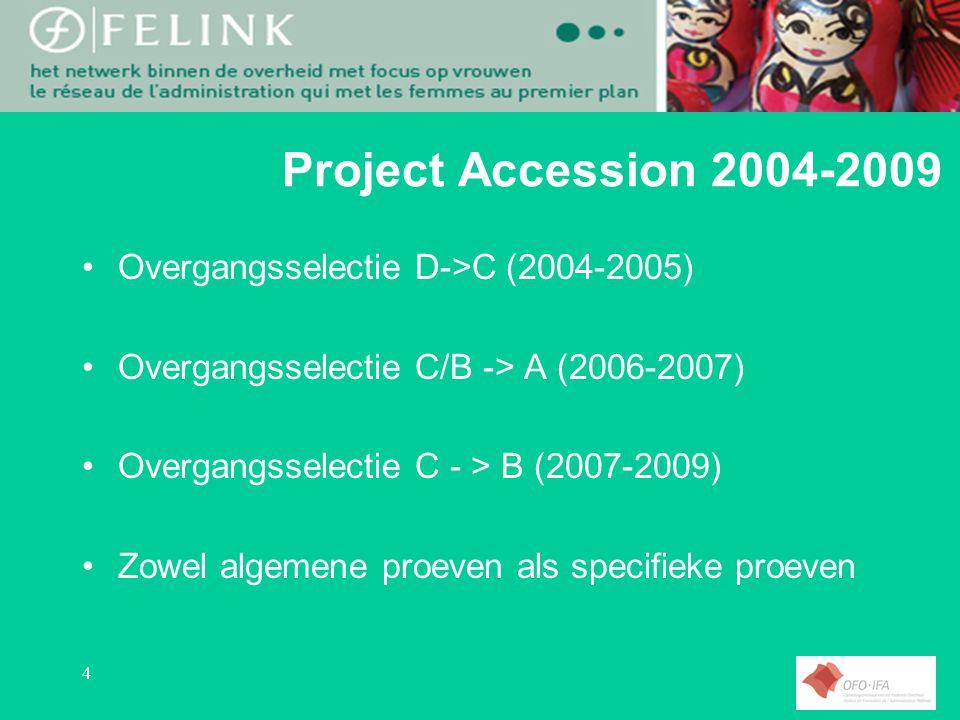 4 Project Accession 2004-2009 Overgangsselectie D->C (2004-2005) Overgangsselectie C/B -> A (2006-2007) Overgangsselectie C - > B (2007-2009) Zowel algemene proeven als specifieke proeven