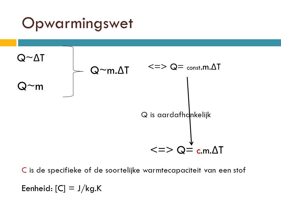 Opwarmingswet Q~ Δ T Q~m Q is aardafhankelijk Q~m.