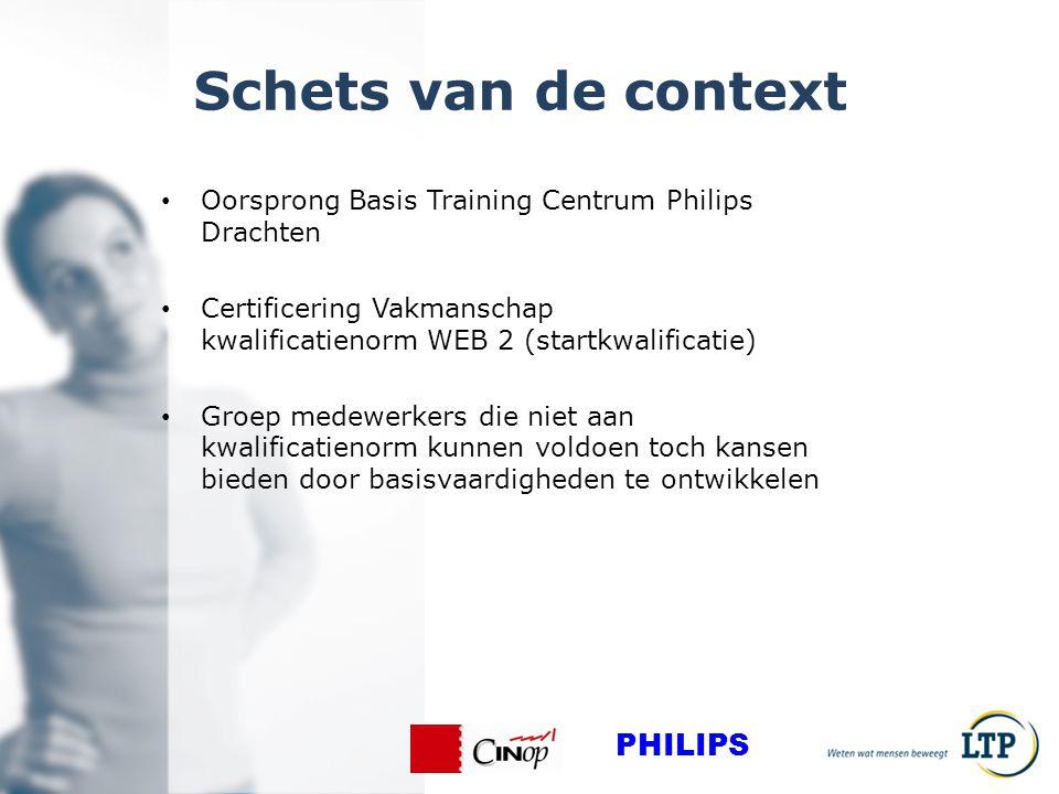 Schets van de context Oorsprong Basis Training Centrum Philips Drachten Certificering Vakmanschap kwalificatienorm WEB 2 (startkwalificatie) Groep medewerkers die niet aan kwalificatienorm kunnen voldoen toch kansen bieden door basisvaardigheden te ontwikkelen PHILIPS