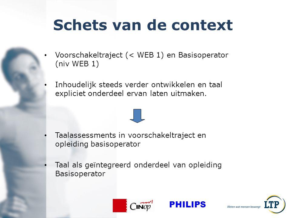 Schets van de context Voorschakeltraject (< WEB 1) en Basisoperator (niv WEB 1) Inhoudelijk steeds verder ontwikkelen en taal expliciet onderdeel ervan laten uitmaken.
