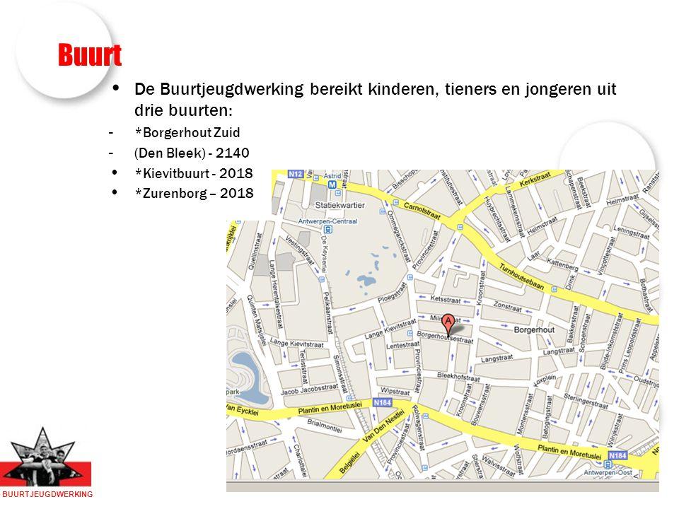 BUURTJEUGDWERKING Buurt De Buurtjeugdwerking bereikt kinderen, tieners en jongeren uit drie buurten: - *Borgerhout Zuid - (Den Bleek) - 2140 *Kievitbuurt - 2018 *Zurenborg – 2018