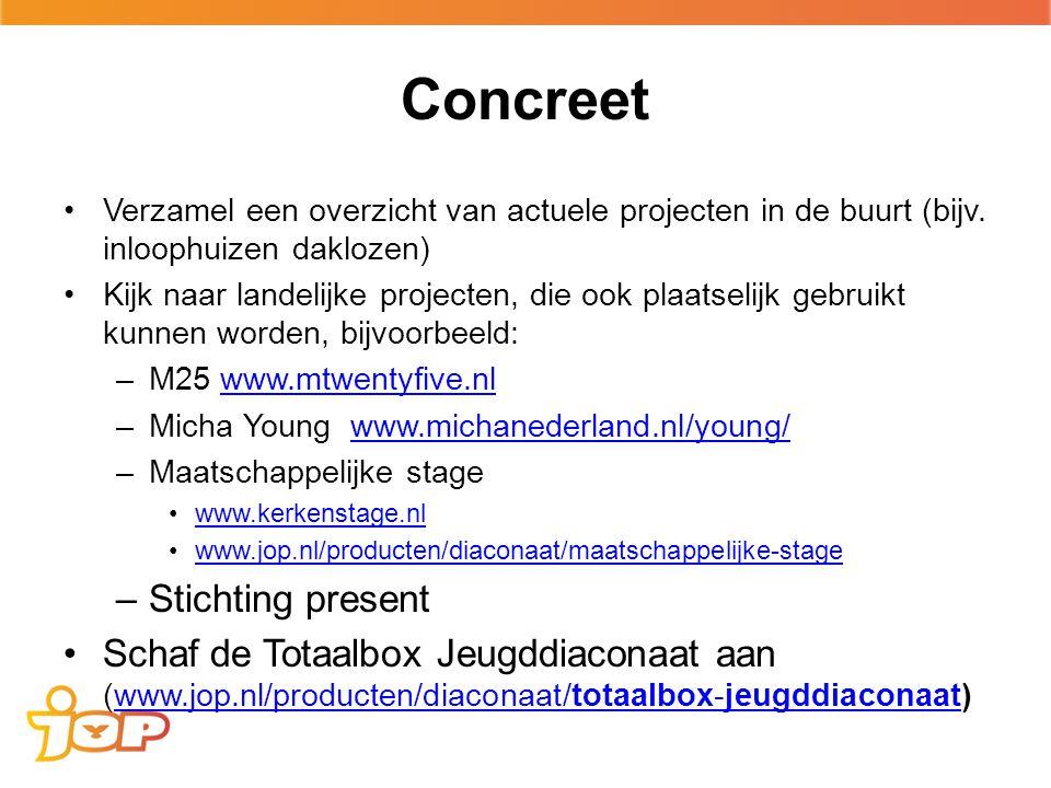 Concreet Verzamel een overzicht van actuele projecten in de buurt (bijv.