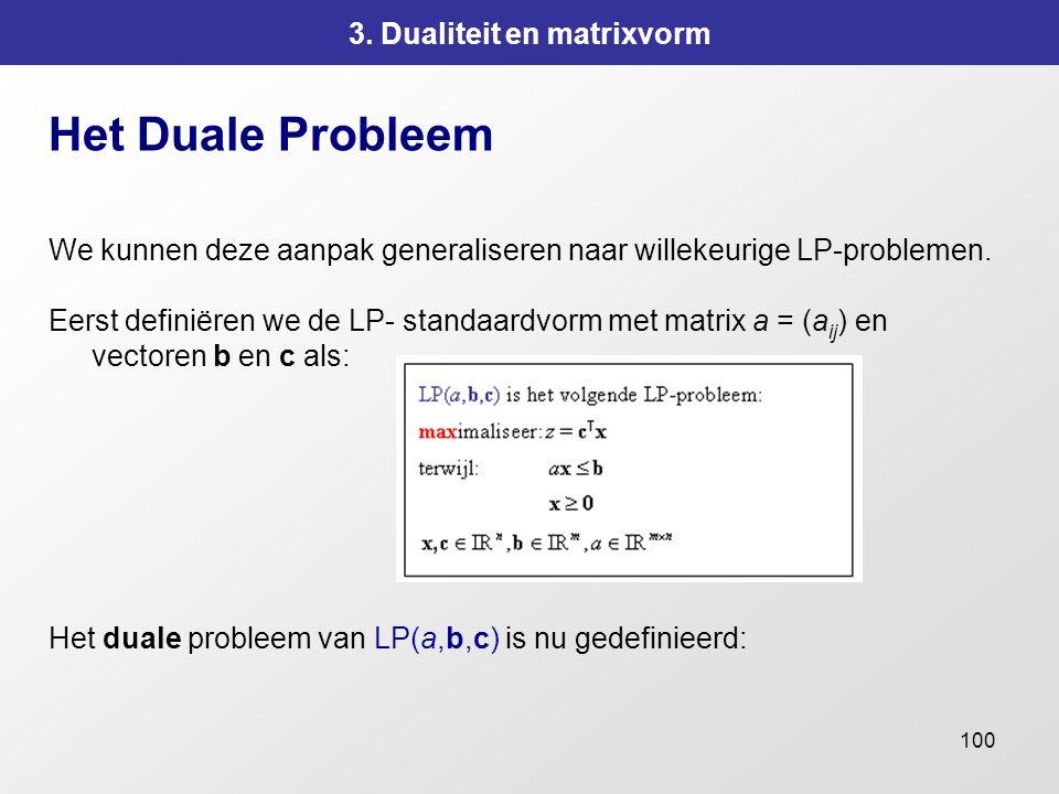 100 3. Dualiteit en matrixvorm Het Duale Probleem We kunnen deze aanpak generaliseren naar willekeurige LP-problemen. Eerst definiëren we de LP- stand