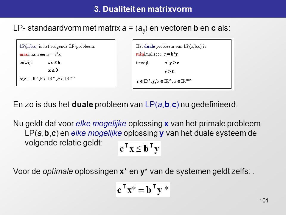 101 3. Dualiteit en matrixvorm LP- standaardvorm met matrix a = (a ij ) en vectoren b en c als: En zo is dus het duale probleem van LP(a,b,c) nu gedef