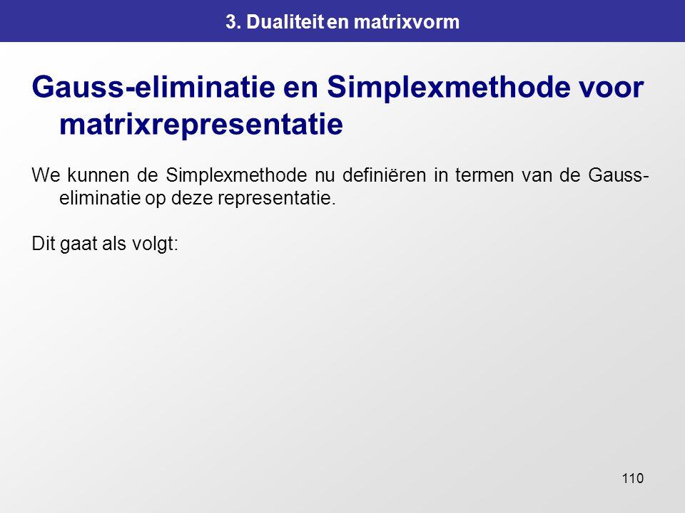 110 3. Dualiteit en matrixvorm Gauss-eliminatie en Simplexmethode voor matrixrepresentatie We kunnen de Simplexmethode nu definiëren in termen van de