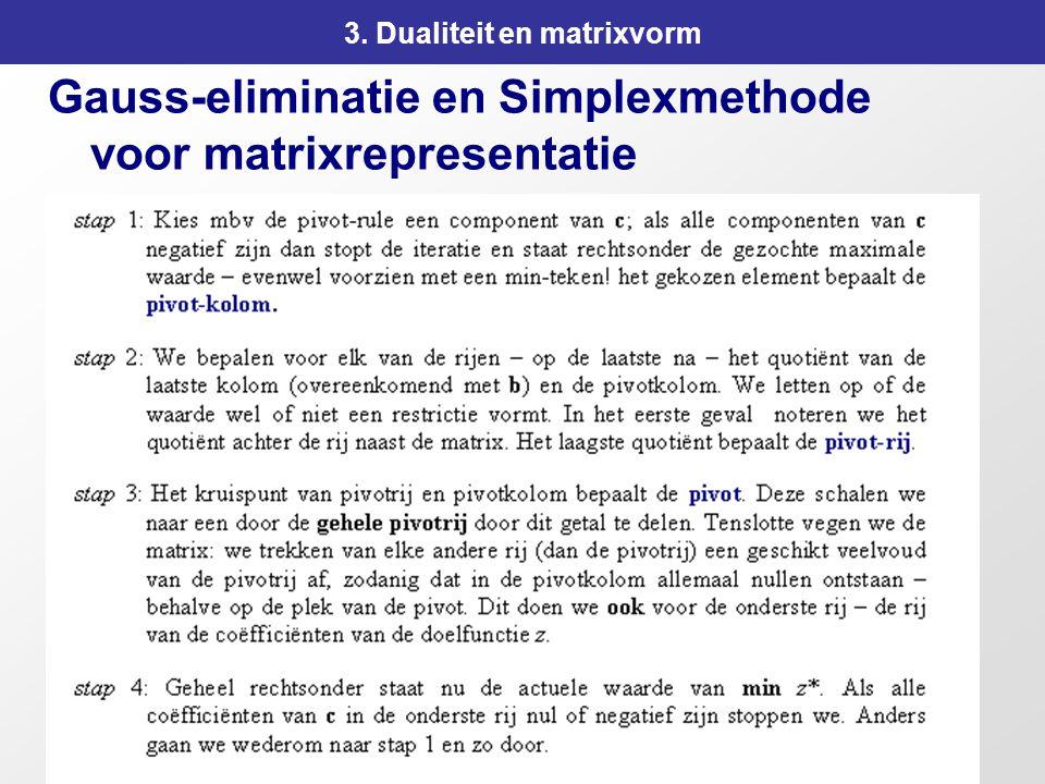 111 3. Dualiteit en matrixvorm Gauss-eliminatie en Simplexmethode voor matrixrepresentatie