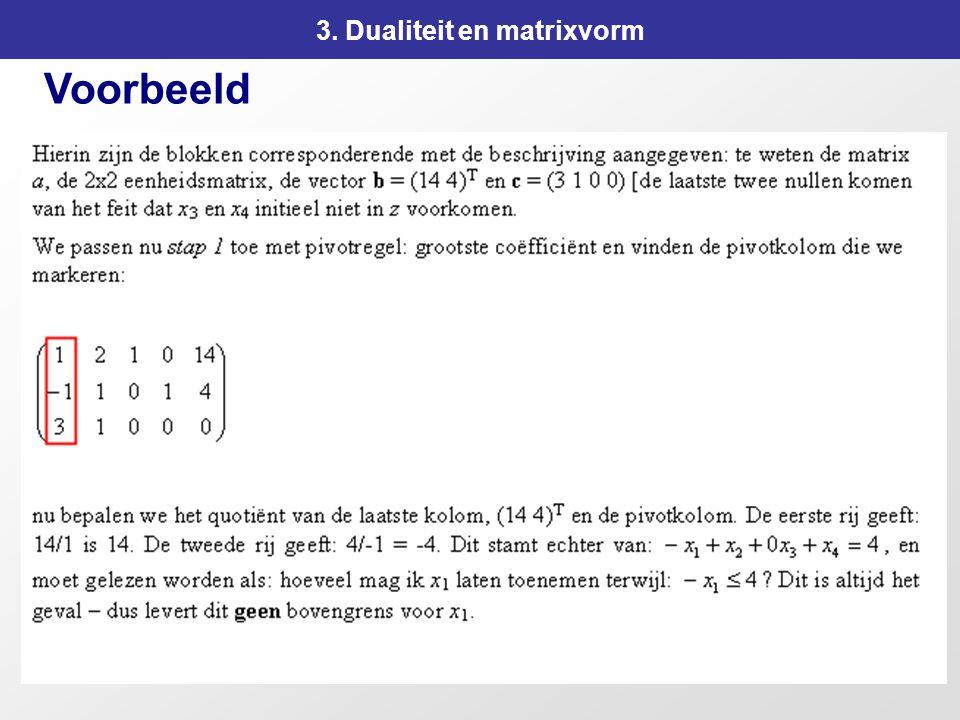 113 3. Dualiteit en matrixvorm Voorbeeld