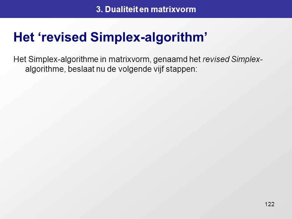 122 3. Dualiteit en matrixvorm Het 'revised Simplex-algorithm' Het Simplex-algorithme in matrixvorm, genaamd het revised Simplex- algorithme, beslaat