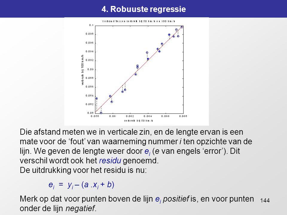 144 4. Robuuste regressie Die afstand meten we in verticale zin, en de lengte ervan is een mate voor de 'fout' van waarneming nummer i ten opzichte va