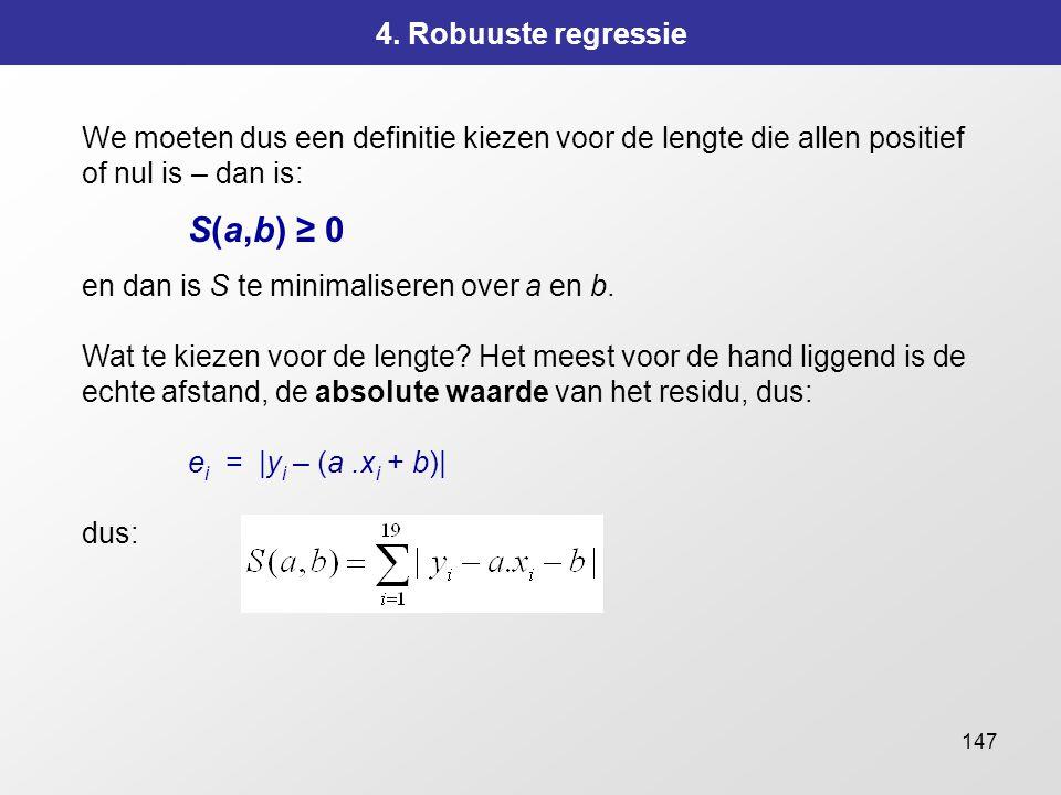 147 4. Robuuste regressie We moeten dus een definitie kiezen voor de lengte die allen positief of nul is – dan is: S(a,b) ≥ 0 en dan is S te minimalis