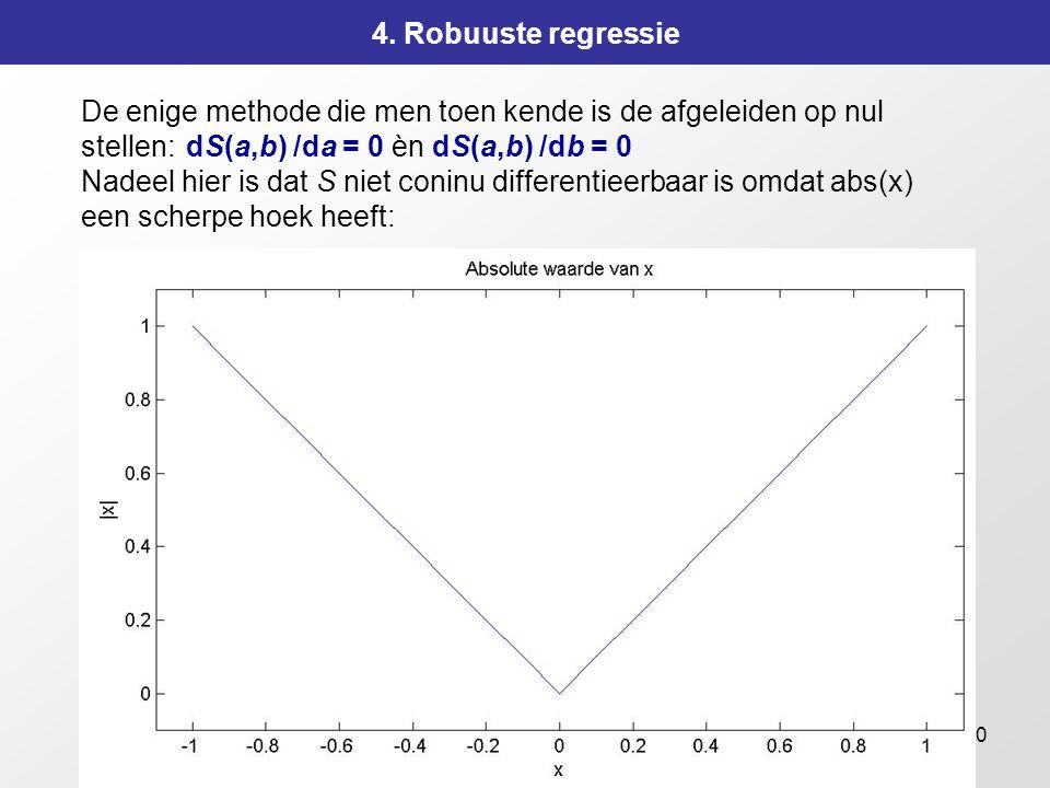 150 4. Robuuste regressie De enige methode die men toen kende is de afgeleiden op nul stellen:dS(a,b) /da = 0 èn dS(a,b) /db = 0 Nadeel hier is dat S
