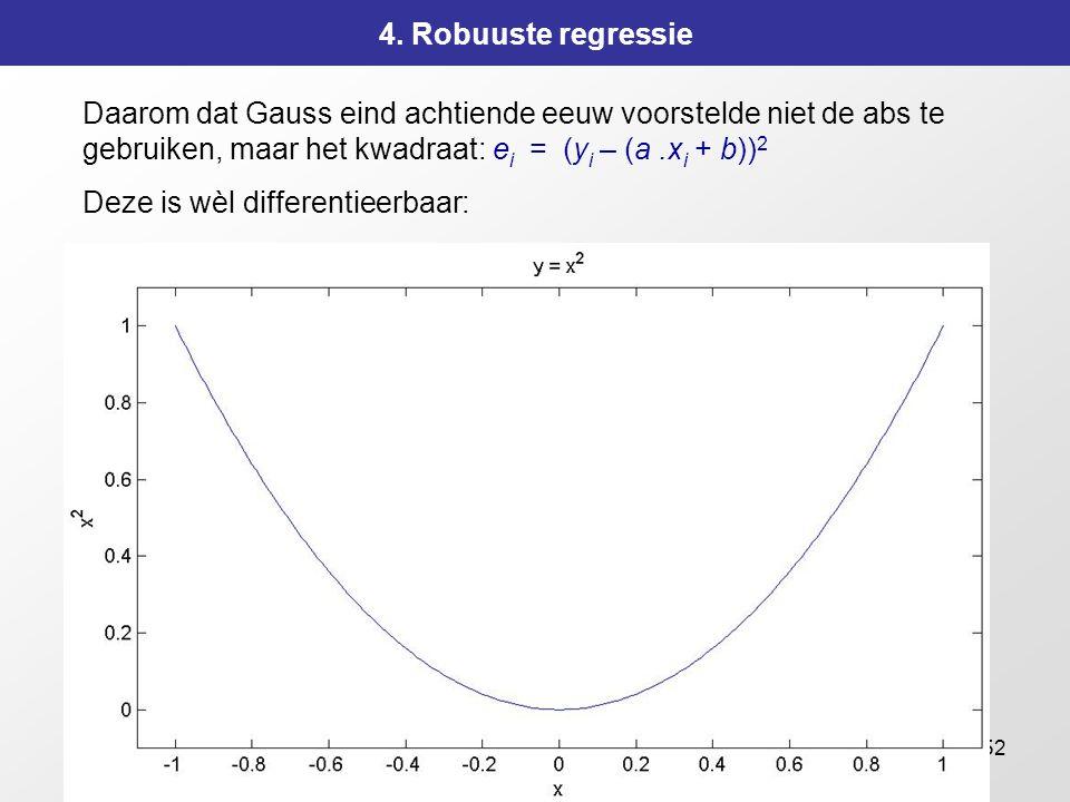 152 4. Robuuste regressie Daarom dat Gauss eind achtiende eeuw voorstelde niet de abs te gebruiken, maar het kwadraat: e i = (y i – (a.x i + b)) 2 Dez