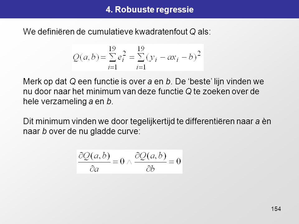 154 4. Robuuste regressie We definiëren de cumulatieve kwadratenfout Q als: Merk op dat Q een functie is over a en b. De 'beste' lijn vinden we nu doo