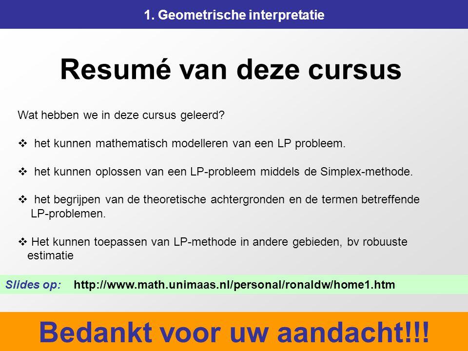 175 Resumé van deze cursus 1. Geometrische interpretatie Wat hebben we in deze cursus geleerd?  het kunnen mathematisch modelleren van een LP problee