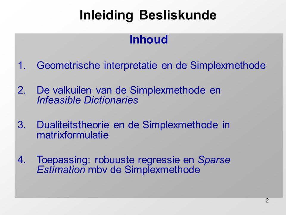 2 Inleiding Besliskunde Inhoud 1.Geometrische interpretatie en de Simplexmethode 2.De valkuilen van de Simplexmethode en Infeasible Dictionaries 3.Dua