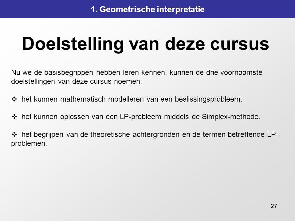 27 Doelstelling van deze cursus 1. Geometrische interpretatie Nu we de basisbegrippen hebben leren kennen, kunnen de drie voornaamste doelstellingen v