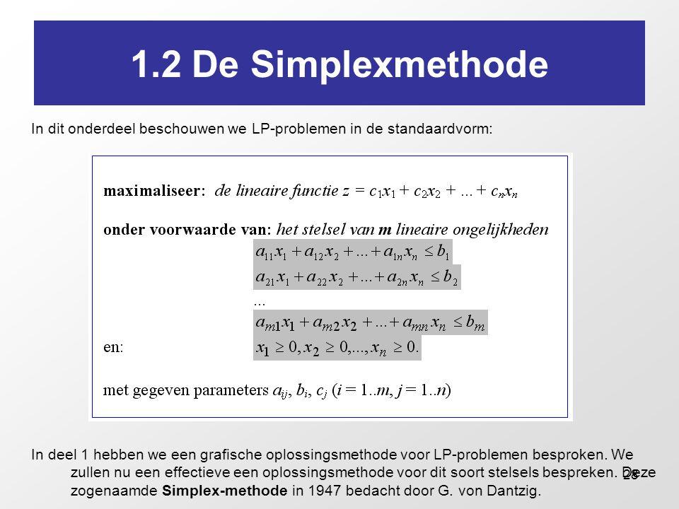 28 1.2 De Simplexmethode In dit onderdeel beschouwen we LP-problemen in de standaardvorm: In deel 1 hebben we een grafische oplossingsmethode voor LP-problemen besproken.