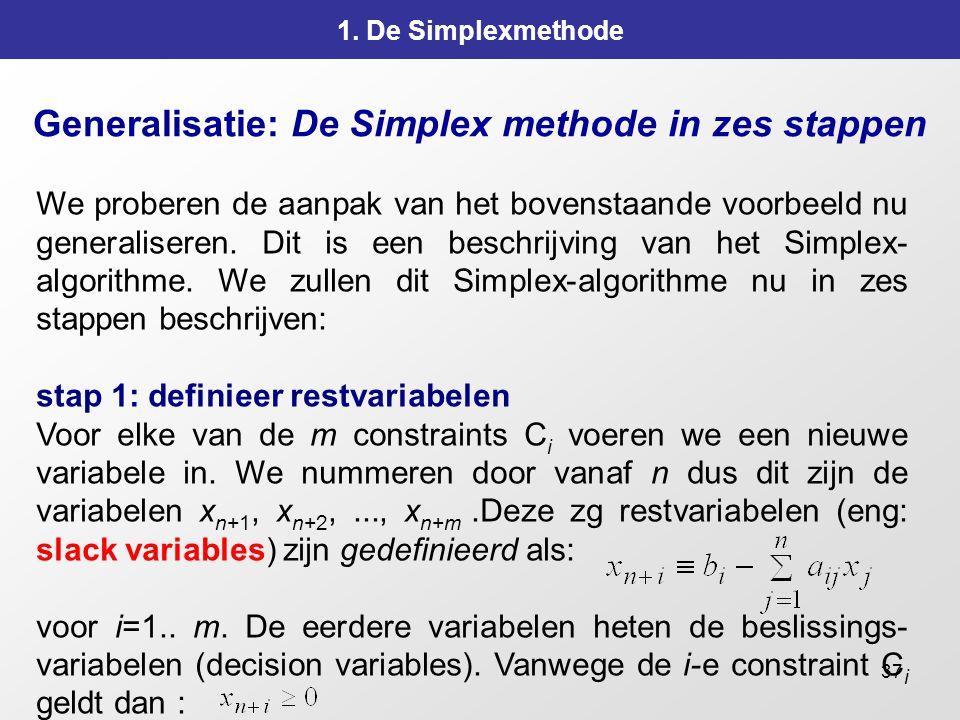 37 Generalisatie: De Simplex methode in zes stappen 1. De Simplexmethode We proberen de aanpak van het bovenstaande voorbeeld nu generaliseren. Dit is