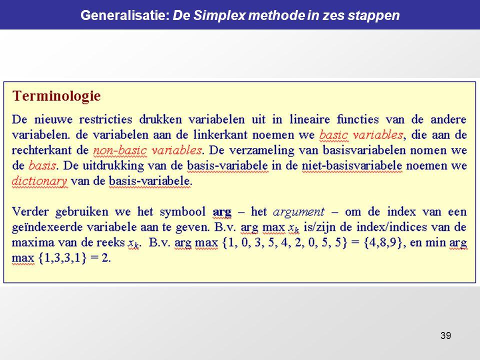 39 Generalisatie: De Simplex methode in zes stappen