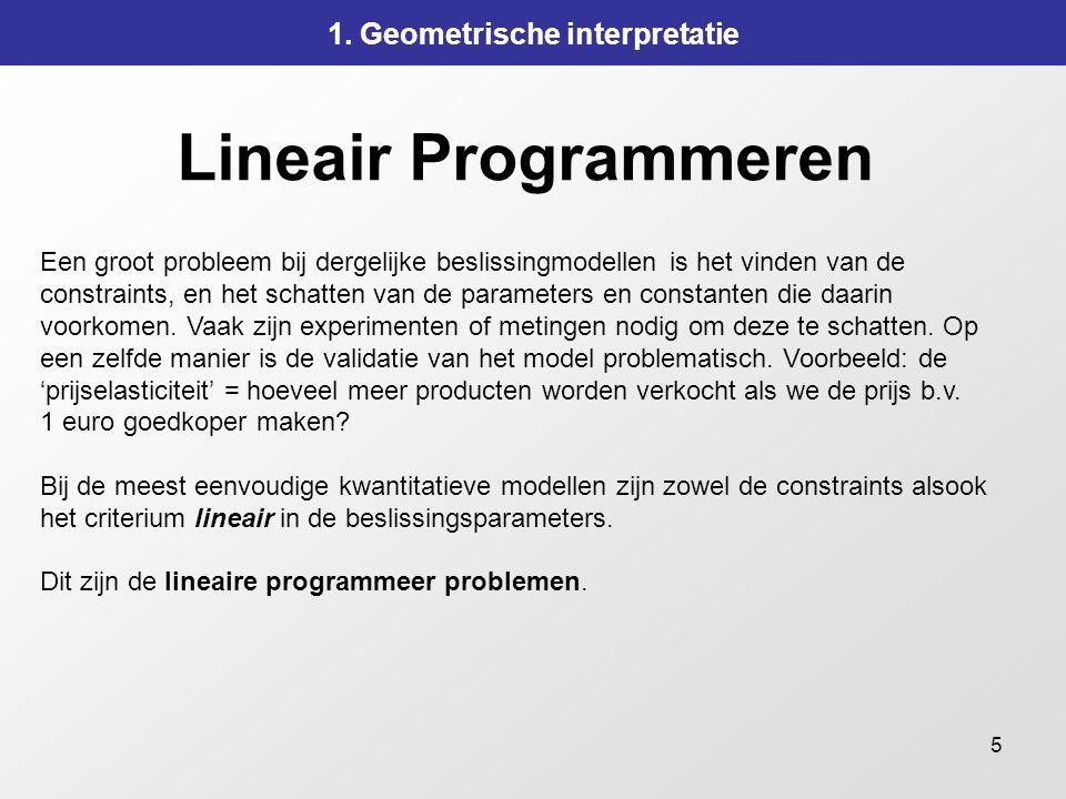 5 Lineair Programmeren 1. Geometrische interpretatie Een groot probleem bij dergelijke beslissingmodellen is het vinden van de constraints, en het sch