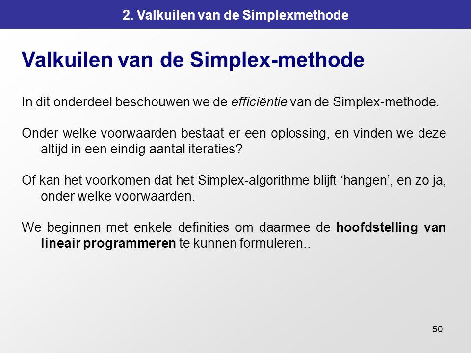 50 2. Valkuilen van de Simplexmethode Valkuilen van de Simplex-methode In dit onderdeel beschouwen we de efficiëntie van de Simplex-methode. Onder wel