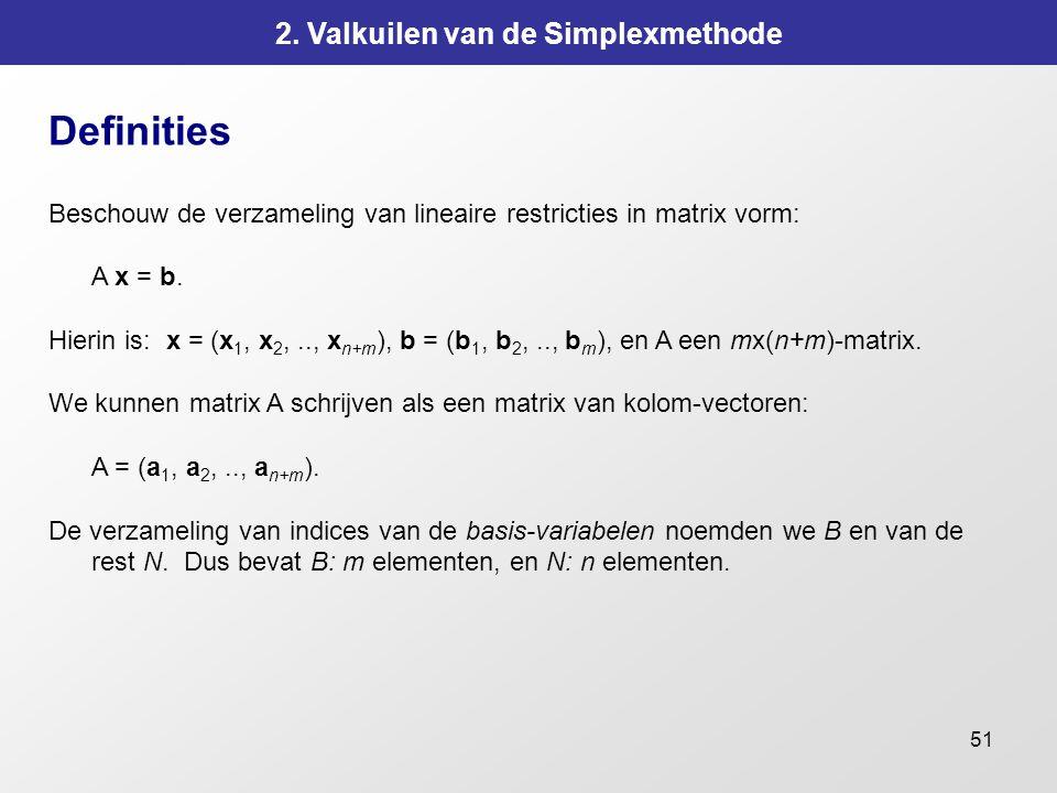 51 2. Valkuilen van de Simplexmethode Definities Beschouw de verzameling van lineaire restricties in matrix vorm: A x = b. Hierin is: x = (x 1, x 2,..