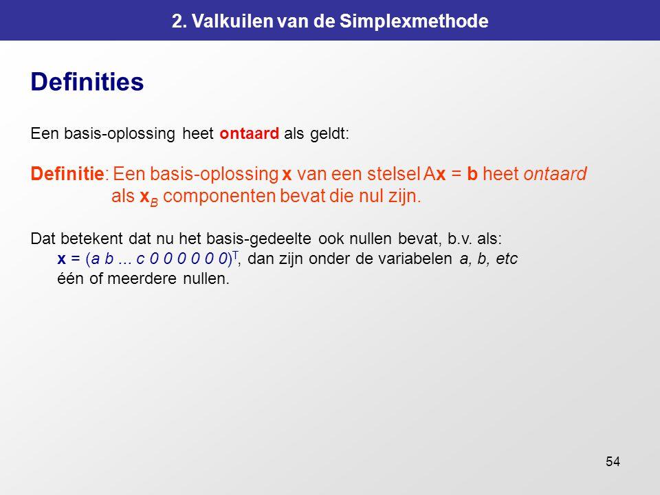 54 2. Valkuilen van de Simplexmethode Definities Een basis-oplossing heet ontaard als geldt: Definitie: Een basis-oplossing x van een stelsel Ax = b h