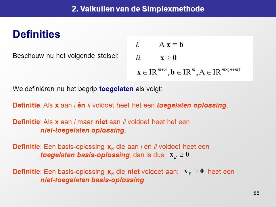 55 2. Valkuilen van de Simplexmethode Definities Beschouw nu het volgende stelsel: We definiëren nu het begrip toegelaten als volgt: Definitie: Als x