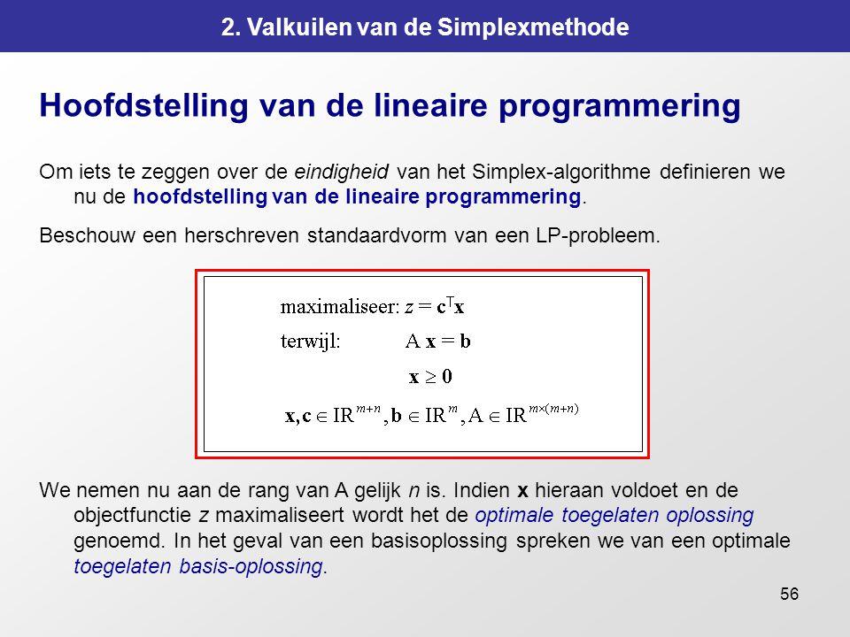 56 2. Valkuilen van de Simplexmethode Hoofdstelling van de lineaire programmering Om iets te zeggen over de eindigheid van het Simplex-algorithme defi
