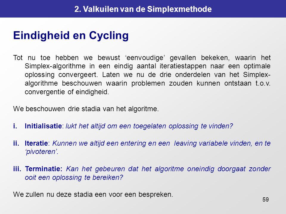 59 2. Valkuilen van de Simplexmethode Eindigheid en Cycling Tot nu toe hebben we bewust 'eenvoudige' gevallen bekeken, waarin het Simplex-algorithme i